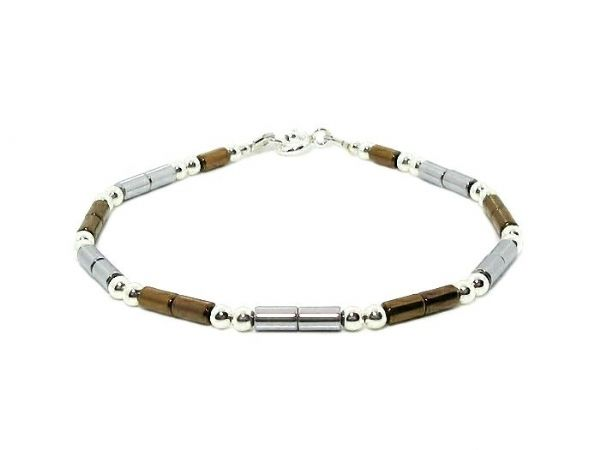 Slim Silver & Bronze Hematite Tubes Bracelet With Sterling Silver Beads | Silver Sensations